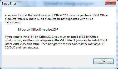 Office 2010 TP Setup Error x86 to x64 upgrade not allowed